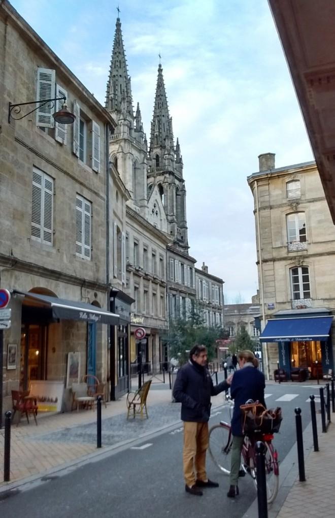 Rue notre dame with St-Louis des Chartrons Bordeaux france